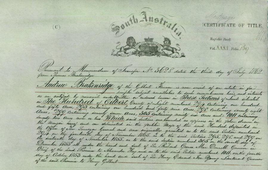 Certificate of Title from 1862